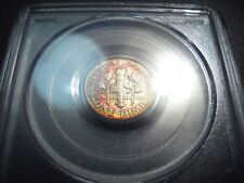 Rainbow Toned 1957-D US Roosevelt Silver Dime PCGS MS65 Mint Set Toned