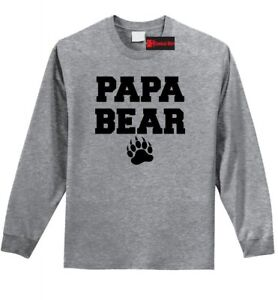 Papa Bear Funny L/S T Shirt Cute Father's Day Gift Shirt New Dad Tee Z1