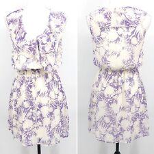 Bee Stitched Womens Blouson Dress Floral Print Ruffle Neck Chiffon Purple Size S