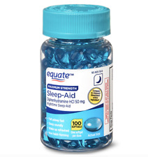 Equate Sleep Aid Softgels Maximum Strength 100 Count 1/2024