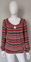 Lucky Brand Womens Top Shirt M Cotton Blend Red Green Blue Long Sleeve Smocked