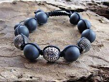 Halbedelstein Onyx Armband matt Shamballa Glücksbringer Edelstahl Beads 12 mm