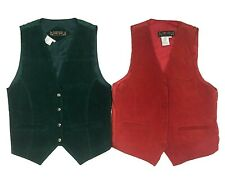 VTG 100% Suede Leather Vest Waistcoat | Red or Green | SMALL | Western Hipster