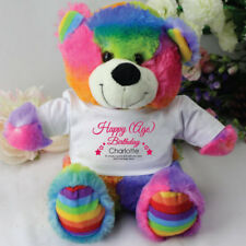Personalised Birthday Rainbow Teddy Bear |18th, 21st, 30th,40th, 50th, 60th