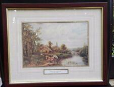 Riverside Cottage by O.T. Clark framed print - 38.5 cm x 31
