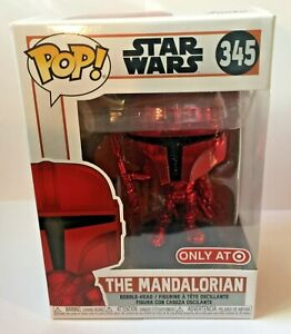 FUNKO POP STAR WARS RED CHROME 345 THE MANDALORIAN TARGET EXCLUSIVE SG312
