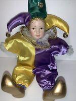"""Mardi Gras 10"""" Jester Clown Doll Porcelain Head, Hands & Feet in Purple & Gold"""