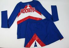 "Patriotic Red Wht Blue ROCKETS Shinny Cheerleader Uniform Outfit Costume 34"" TOP"