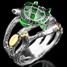 NATURAL TSAVORITE LONDON BLUE TOPAZ SAPPHIRE HANDMADE SILVER 925 RING SIZE 8