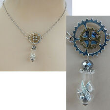 Silver Steampunk Glass Vial & Gears Pendant Necklace Jewelry Handmade NEW