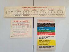 Lido Pinball Machine Original Instruction And Score Cards Bally