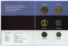 1992-1994 ESTONIA - MINT UNC BU SET (6) with 2 COMMEMORATIVE 5 KROONI - RARE!