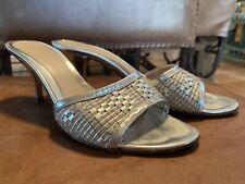 Fendi Metallic Silver Heel Sandals Slides - Made in Italy - Size 36.5 US 5.5