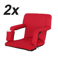 2 Pack Portable Stadium Seat Cushion Chair for Bleacher w/ Water Pockets- Red