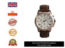 New Fossil Mens Grant Watch FS5344 Pure Leather Strap Model 2017 Gift Fast