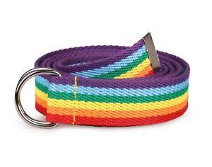 Rainbow Pride Belt Canvas Webbing Men Women Unisex Double D Ring LGBT Belts UK