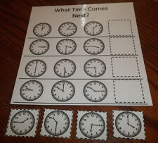 What Time Comes Next Laminated Educational Game. Preschool thru Kindergarten.