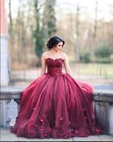 Burgundy Ball Gown Princess Quinceanera Dresses Lace Strapless Prom Dress Custom