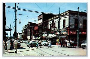 Wilkinsburg, PA postcard, corner of Penn & Wood, Rand's Drugs, Grill, 1950s cars