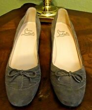 EUC CHRISTIAN LOUBOUTIN Size 36.5 (6) Gray/Taupe Suede Low-Heeled Pumps