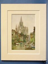 TRURO CATHEDRAL RARE VINTAGE DOUBLE MOUNTED HASLEHUST PRINT c1930 10 X 8 OVERALL