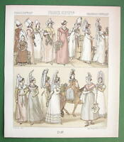 FANCE Costume of Normandy Women - 1888 COLOR Print A. Racinet