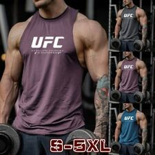 Fashion Men Gym Tops UFC Letter Print Tank Vest Sleeveless Casual Loose T Shirt