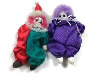 Set Of 2 Of Mardi Gras Jester Clown Dolls