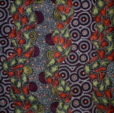 Wild Seed & Waterhole Black  Aboriginal Australian Quilting Fabric 1/2 metre