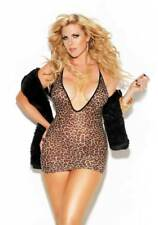 Sexy Mesh Leopard Deep-V Bodycon Skirt Mini Dress Lingerie Adult Women Plus Size