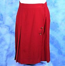 Talbots Size 6 Red Wool Pleated Skirt Kilt Pin Wrap Made in USA Vintage 80s