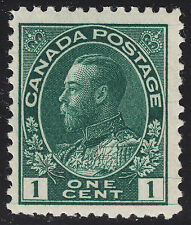 Canada 1c KGV Admiral HAIRLINES, Scott 104viii, F-VF MNH, catalogue - $106