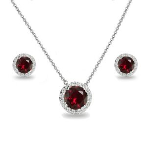 925 Silver Created Ruby and White Topaz Round Halo Necklace & Stud Earrings Set