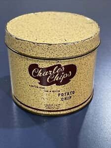 Vintage Sample Size Charles Chips Tin Can