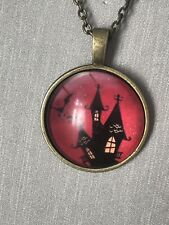 Spooky/haunted House Pendant Necklace Halloween Goth Steam Punk Bronze Chain