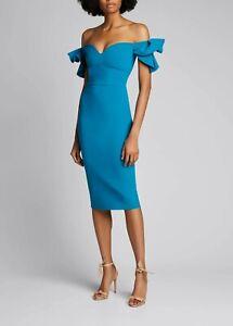 NWT CHIARA BONI LA PETITE ROBE PHASMA Off-Shoulder Sweetheart Dress Blue 4 $695