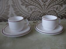 Vintage Retro Arcopal France Pyrex White Red Trim 2 Tea Cups Saucers & Plates
