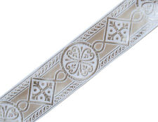 """Gothic 2.5"""" Wide White & Silver Chasuble Medieval Church Vestment Trim 4 Yds DIY"""