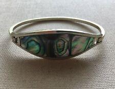 Abalone Shell Inlay Hinged Vintage Alpaca Bangle Bracelet Boho Southwest