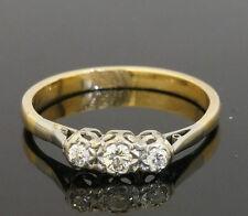 18ct Gold & Plat Illusion Set Three Stone Diamond 0.20ct Ring (Size P)