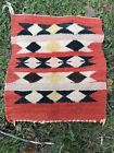 American Indian Navajo Rug Vintage Authentic Hand Woven 15.5 X 17.5 In