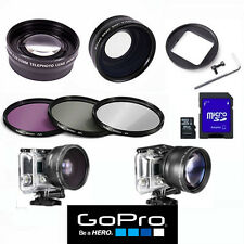 WIDE ANGLE LENS + MACRO + ZOOM LENS + FILTER KIT +64GB HD CARD FOR GOPRO HERO4