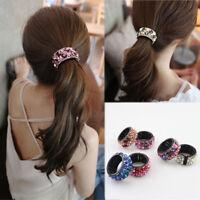 Women Crystal Hair Clip Headband Hairband Claw Ring Buckle Ponytail Holder Decor