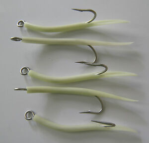 Saltwater fishing 5 pack  7/0 31022 Mustad Glow Tube hooks Striper jig lure UV