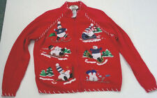 ugly snowman winter red zipper front cardigan sweater Tiara international 2003