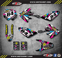 Custom Graphics, Full Kit For Honda CRF 70 2003 - 2011 RUSH Style Stickers