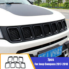 Fit For 2017-2018 Jeep Compass 7Pcs Chrome Black Front Grill Grille Cover Trim