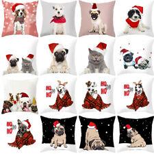 """18"""" Cute Christmas Hat Worn Dog Throw Pillow Case Festival Sofa Cushion Cover"""