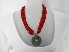 SALE Red Multi-strand Necklace with Silver Pendant was $16 NOW $12
