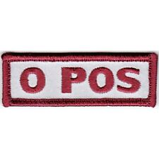 0 Pos Positive Blood Type Hook And Loop Embroidered Patch